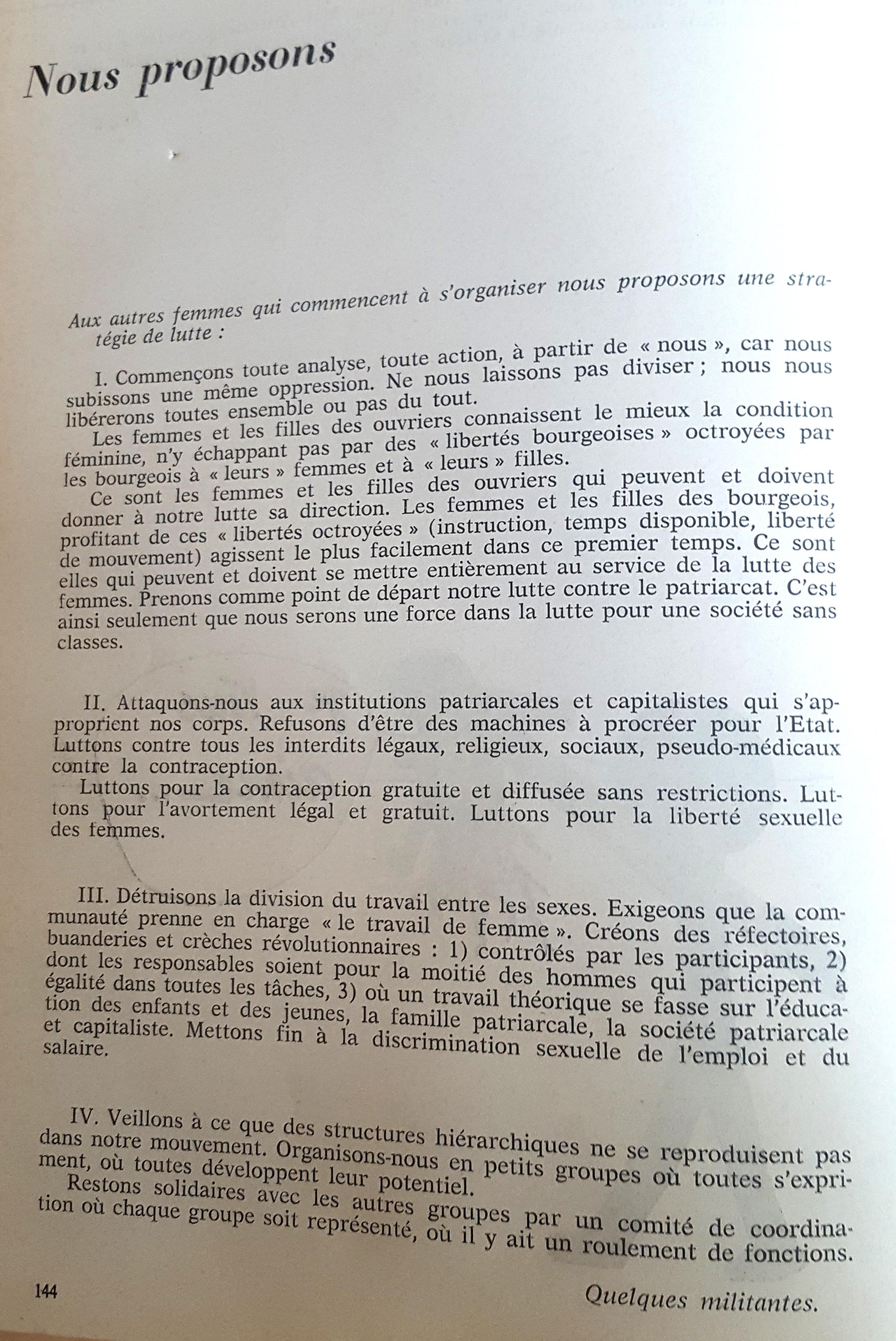 """Libération des femmes, année zéro, """"Nous proposons"""""""