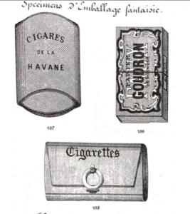Divers emballages fantaisies de préservatifs, fin XIXe
