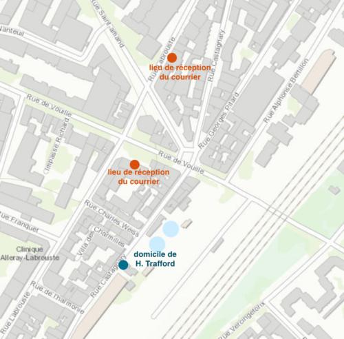 Carte figurant les différentes adresses utilisées par Trafford