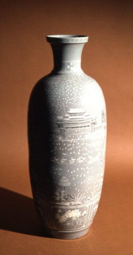 Celadon-glazed porcelain with inlaid decoration. From Pyongyang, DPRK, c. 2002. (British Museum 2002,0930.1)