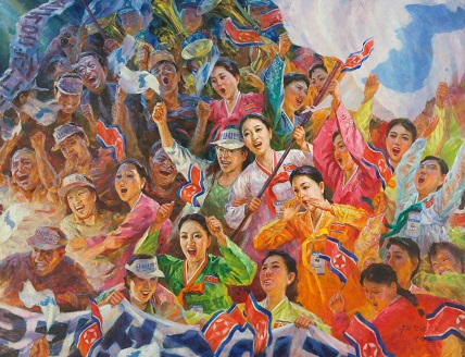 Copyright Rim Myŏng-il (Nampo City Art Studio), Pusan echo, 2003, oil on canvas. North-Korean cheerleaders during the Asian Games in Pusan (South-Korea), collection Ronald Groen
