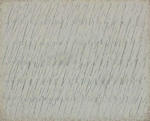 Ecriture No. 41-75, 1975, Park Seo-Bo, Oil and pencil on canvas; 130 x 162 cm.