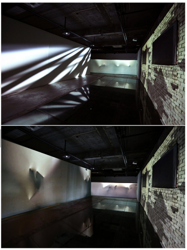 Rendering, projection mapping installation, dimension variable, 2013 collaborative media performance with LDP dance company, Art space Jungmiso, Seoul, Korea