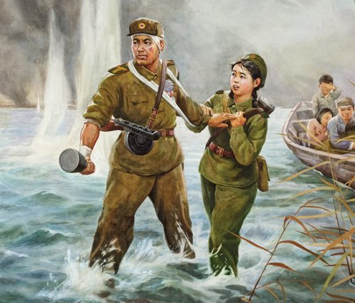Park Ryong, Farewell, 1997. Chosonhwa, 48.5 x 64 in. (North Korean)