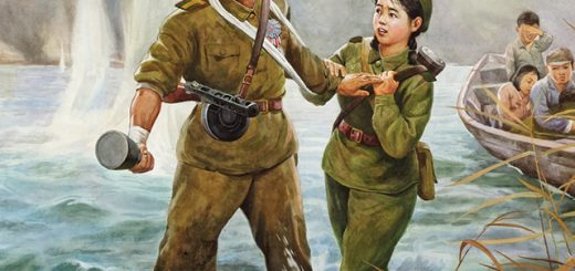 Park Ryong, Farewell, 1997. Chosonhwa, 48.5 x 64 in. (North Korean)