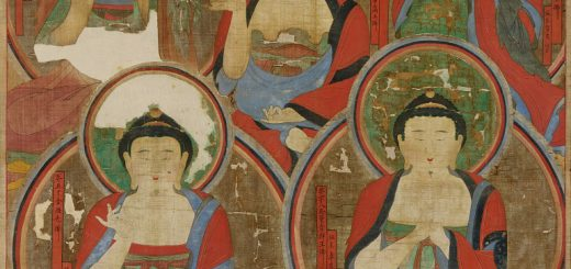 Korea, unknown artist, Five Buddhas, 1725, ink and mineral pigments on hemp, Songgwangsa Temple; conserved by Robert and Sandra Mattielli.