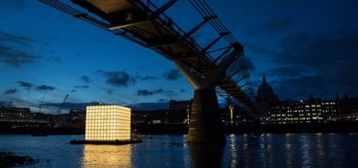 Ik-Joong Kang's sculpture floats on the river Thames at night. Photograph: Peter Macdiarmid.