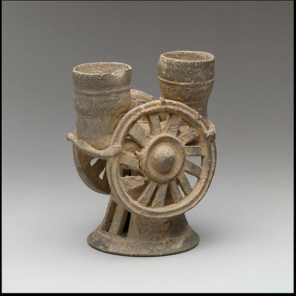 Chariot wheel–shaped cup수레 바퀴 모양 잔 가야 車輪飾土器 伽倻. Three Kingdoms period, Gaya Federation (42–562), 5th century, Stoneware with incidental ash glaze, H. 15.9 cm © The Met.