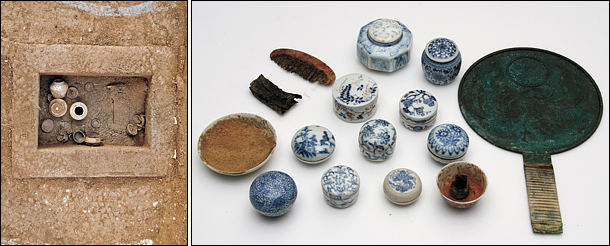 A collection of cosmetic cases and tools (right) has been uncovered from an 18th-century tomb located in Namyangju, Gyeonggi. The tomb (left) belonged to Princess Hwahyeop (1733-52) who died at the age of 20 due to measles © Cultural Heritage Administration.