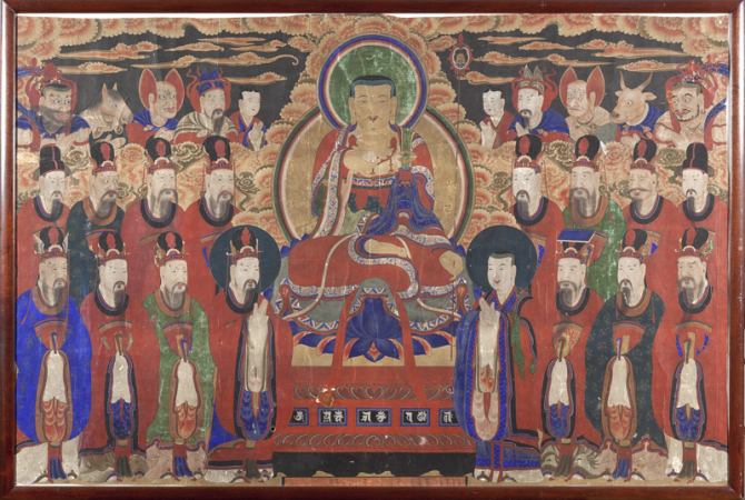 Jijang Bosal (Bodhisattva Kshitigarbha) and the Kings of Hell, Korea, late 19th or early 20th century, late Joseon Period (1392–1912). Colors and cloth. Newark Museum, Gift of Dr. and Mrs. John P. Lyden, 2001, 2001.75.1