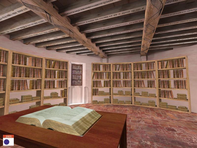 """Restitution de la librairie de Montaigne, Crédits <a href=""""http://archeovision.cnrs.fr/plugins/kitcnrs/diapo_affiche.php?projet=MONTAIGNE""""  2005."""