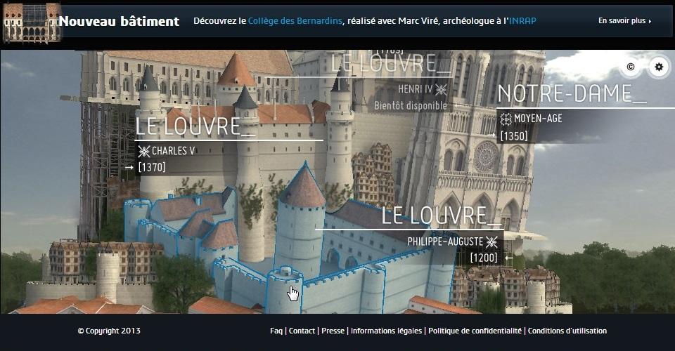 Interface de consultation permettant d'accéder aux restitutions infographiques temps réel de Paris 3D. Capture écran du site Paris 3D faite le 31 octobre 2014.
