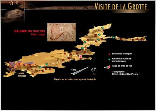 Capture écran de la visite virtuelle de la grotte Chauvet-Pont d'Arc faite le 22 octobre 2014.