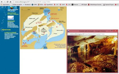 Capture écran du site présentant la grotte de Cosquer faite le 22 octobre 2014.
