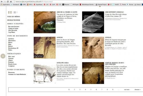 Capture écran de la grille donnant accès aux ressources documentaires  concernant le Roc-aux-Sorciers, faites le 22 octobre 2014.