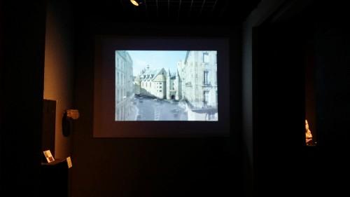 Projection de la restitution du Palais de l'Ombrière au sein des salles médiévales du musée d'Aquitaine
