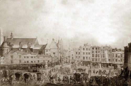 Vue de la façade sud du Palais de l'Ombrière au XVIIIe siècle, dessin au lavis, Joseph Desmaisons du Pallans, ca. 1760, Archives municipales de Bordeaux. Cliché Jessica de Bideran.