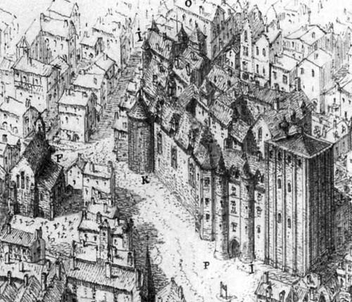Restitution du palais de l'Ombrière à la fin du XVe siècle, héliogravure d'après dessin à l'encre brune, Léo Drouyn, 1894. Cliché Bernard Larrieu.