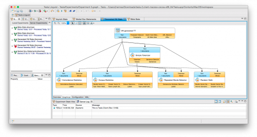 Screenshot of the Tesla-Client with its workflow editor (right) where experiments can be constructed.