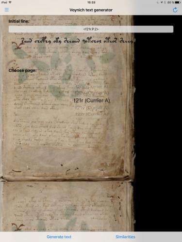 Mit der App zum Voynich-Autor: Auswahl der initialen Zeile.