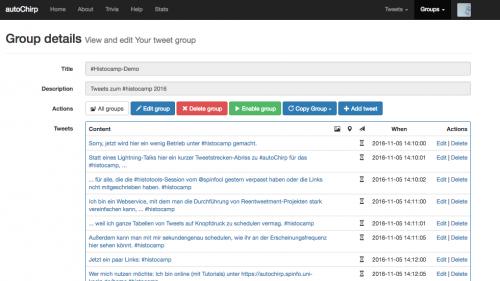 Screenshot vom #autoChirp-Webservice, der mit einem #histoTools-Ligthning-Talk befüllt ist.