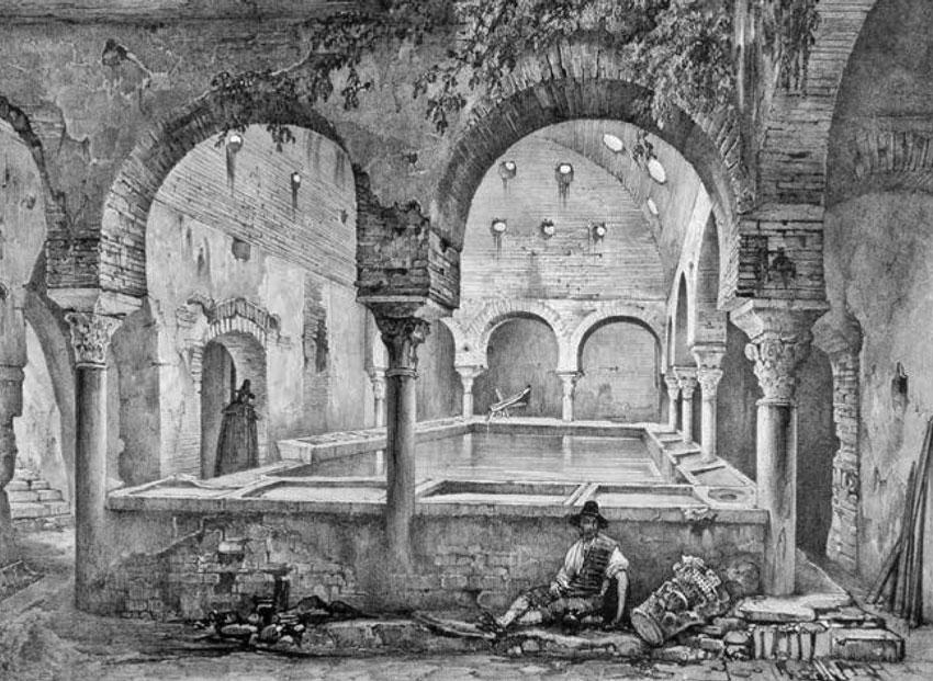 « Anciens bains moresques ruinés », Souvenirs de Grenade et de l'Alhambra, Girault de Prangey, 1837, pl. XI (cl. bibliothèque municipale de Nantes).