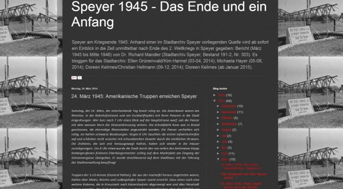 """Nach Jahr und Blog – zum Abschluss von """"Speyer 1945"""""""