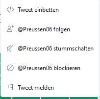 Kontextmenü zu einem Tweet, mit dem Interaktionen innerhalb von Twitter möglich sind.