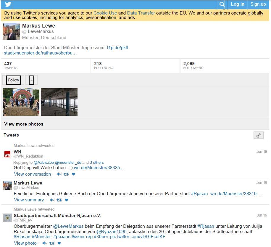 Abb. 6: Die mit dem Acrobat erzeugte PDF-Ausgabe des Twitter-Accounts vermag nicht zu überzeugen.