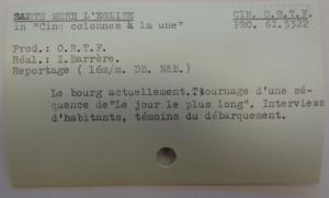 Exemple de fiche de la cinémathèque de l'ORTF, sur Ste-Mère-L'Eglise, Fichier CH2GM, ©IHTP-CNRS
