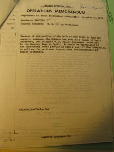 RG 84 - Entry P B - Box 1. Document referring to the destruction of documents in US consulates.