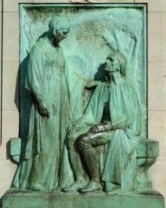 """""""La postérité vous admirera, elle vous vengera, mon père"""" Aménaïde Cornélie Lamarck à son père. Monument Lamarck, Muséum."""