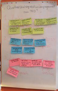 Stratégies d'accompagnement mises en place par les stagiaires pour chaque cas pratique : recueil des idées sur des post-its.
