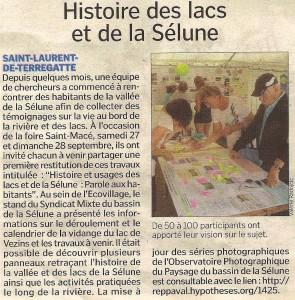 Retour sur la restitution des enquêtes sur la Sélune à l'occasion de la foire Saint-Macé de Saint-James
