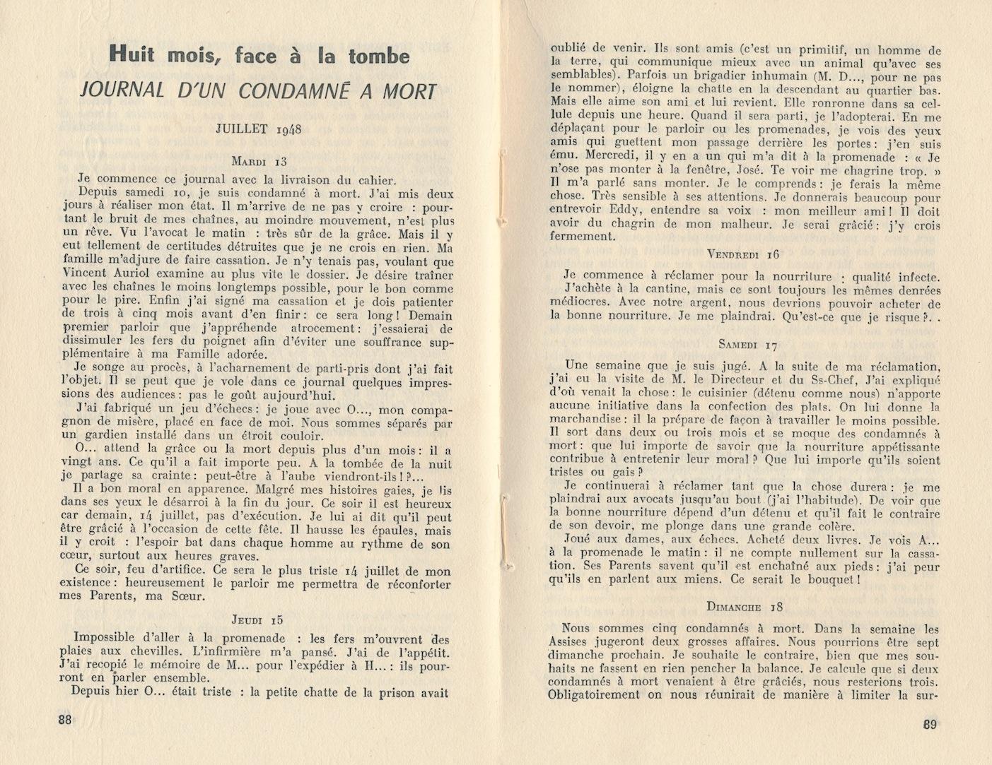 Journal de Joseph Damiani, plus connu sous le nom de José Giovanni