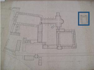Le petit cloître, à la fois hôpital et quartier politique après 1860 : plan de 1808, ADA, 3H338.