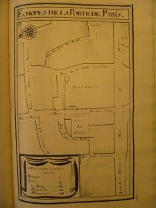 Image 5 : Les échoppes, boutiques et maisons en bordure du Grand Châtelet. Archives nationales – Q1* 1099