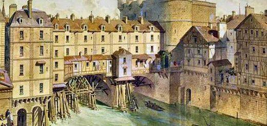 Le Petit Châtelet et les maisons du Petit Pont en 1717 d'après Theodor Josef Hubert Hoffbauer, Musée Carnavalet.