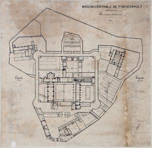 Plan au sol de la maison centrale de Fontevraud en 1866, © Service Régional de l'Inventaire, Région des Pays de Loire.