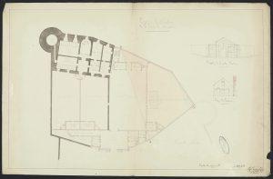 Fig. 13 Plan des différents espaces de la prison, 1874, Archives Départementales de la Mayenne, 4N55.