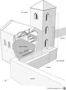 Fig. 5 Proposition de restitution du palais carolingien, OAU.