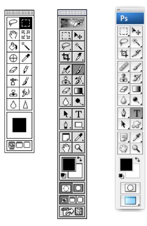 Évolution des outils Photoshop de 1989 à 2004