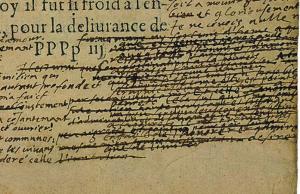 Bibliothèque de Bordeaux, S 1238 Rés.coffre, « De Democritus & Heraclitus », Détail du f. 335. Numérisation P. Desan, U. de Chicago.