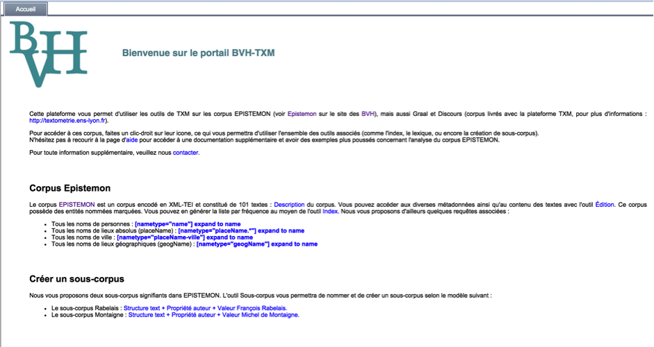 Interface de la plateforme : page d'accueil