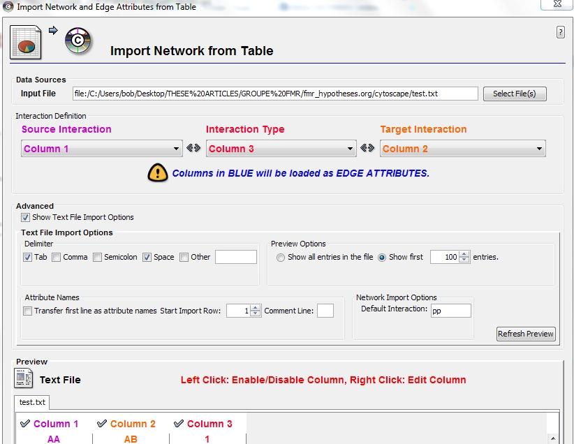 importation de tables dans le logiciel cytoscape