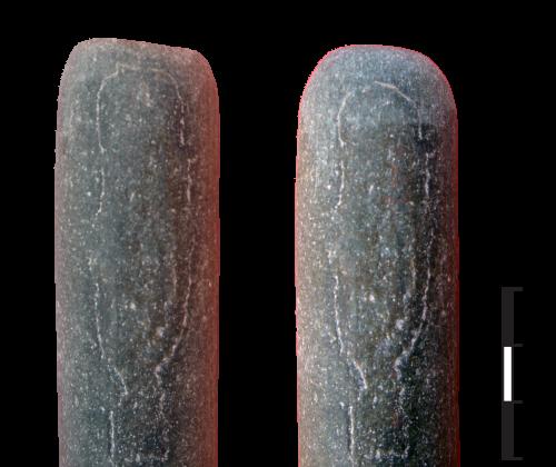 Abrasion de l'extrémité d'un bâton poli en pierre dure. 1-avant abrasion, 2-après abrasion.