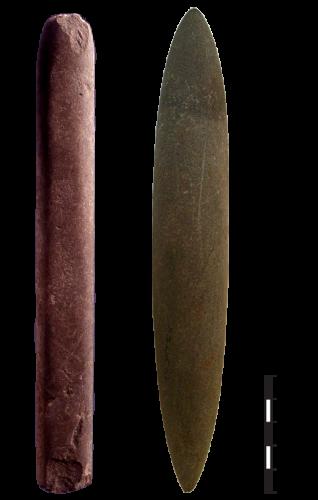 Bâtons polis archéologiques du site de Jerf el Ahmar, Syrie. (D'après D. Stordeur)