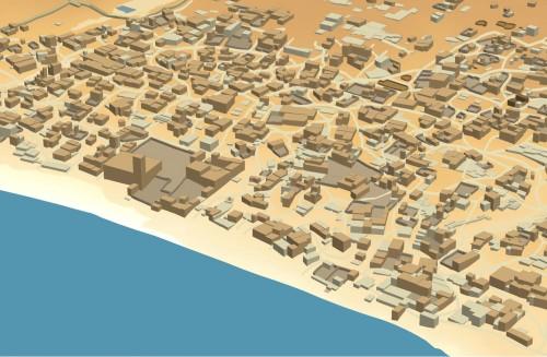Figure 1 : reconstitution 3D de la ville de Qalhat : les volumes qui représentent les bâtiments correspondent à l'emprise de ces derniers élevés à une hauteur déduite approximativement de la taille des éboulis. La vue est produite à partir du Système d'Information dans lequel sont stockées ces données.
