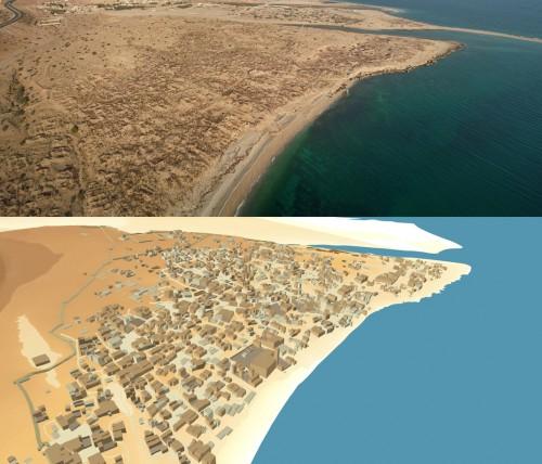 Figure 3 : Photo aérienne des vestiges réalisée à l'aide d'un cerf-volant et vue en perspective obtenue à partir du Système d'Information