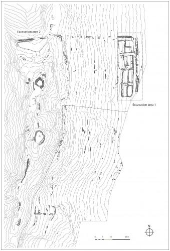 Fig. 5. Plan de l'habitat fortifié de Masafi-2 avec en bas à droite, limites de la zone fouillée en 2010-2011 (Dessin : V. Bernard).